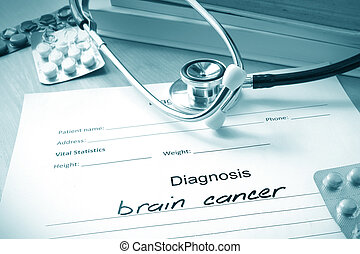 diagnosis brain cancer and pills