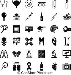 Diagnostic icons set, simple style