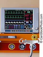 Diagnostic instrument displaying pulse, blood-pressure and ...