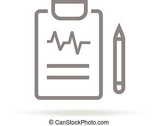 Diagnostic, Medical Research Icon In Trendy Thin Line Style Isolated On White Background. Medical Symbol For Your Design, Apps, Logo, UI. Vector Illustration.