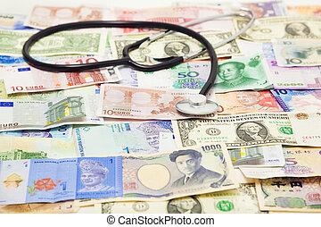 diagnosticar, global, estetoscópio, usando, situação,...