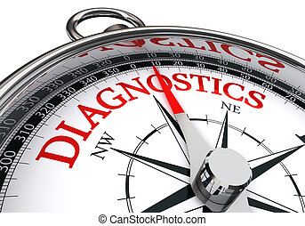 diagnostics red word on conceptual compass