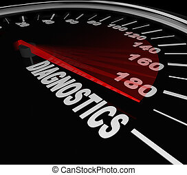 Diagnostics speedometer to illustrate diagnosing a problem with your vehicle, car or automobile at a mechanic shop to repair a problem