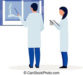 diagnostiquer, traumatologist, treatment., trauma, dessin animé, rayon, plat, orthopedist, illustration., thérapeute, lecture, x, caractères, général, blessure, docteur, fond, praticien, fracture, infirmière, blanc