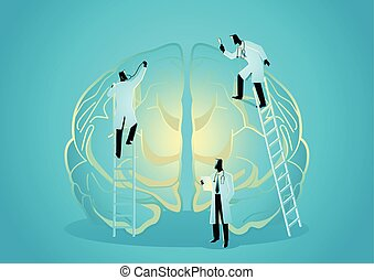 diagnostisera, begrepp, lag, brain., mänsklig, doktorn, neurologen