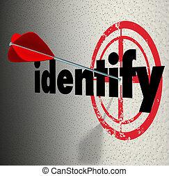 diagnostisera, ord, måltavla, knappnålsspets, identifiera,...