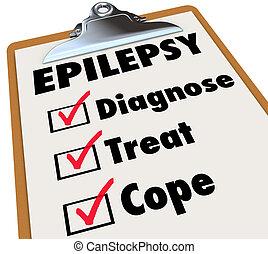 diagnostiseren, bekappen, epilepsie, lijst, klembord, ...