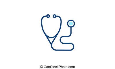 diagnostyczny, kreska, medyczny, piktogram, icon., stetoskop