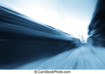 diagonaal, blauwe , trein, beweging onduidelijke plek, achtergrond