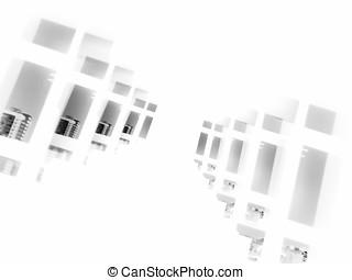 Diagonal black and white futuristic windows bokeh background...