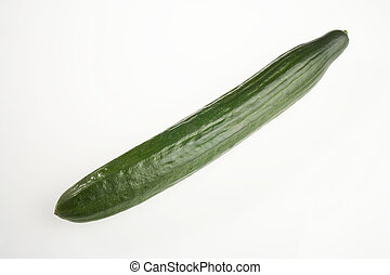 long green cucumber on white background - lange gruene Gurke auf weissem Hintergrund