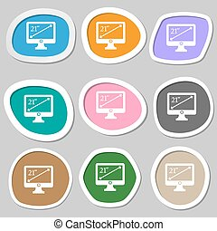 diagonal of the monitor 21 inches icon sign. Multicolored paper stickers. Vector