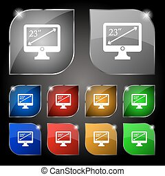 diagonal of the monitor 23 inches icon sign. Set of ten colorful buttons with glare. Vector