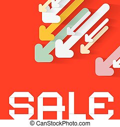 Diagonal Paper Arrows with Sale Title on Red Background. Vector Business Backdrop Design.