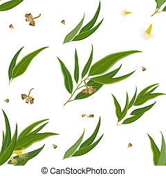 Diagonal pattern Eucalyptus leaves - Diagonal seamless...