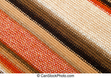 Diagonal scarf - Diagonal pattern of colourful knitted wool...