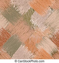 Diagonal seamless pattern with grunge striped square elements in brown, green, beige pastel colors