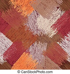 Diagonal seamless pattern with grunge striped square elements in brown, orange, beige, white, violet pastel colors,