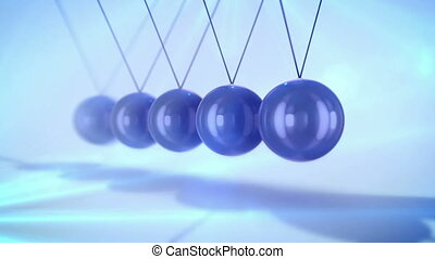 """A magic 3d rendering of steel balls pendulum with waving diagonally beads hitting each other in a light blue background with blurred dots. They look wise and confident in seamless loops."""