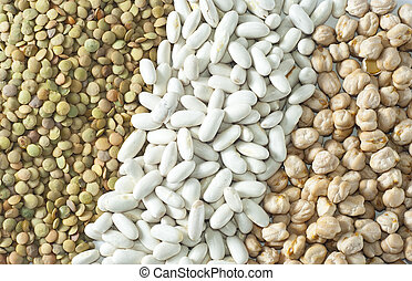 Diagonal texture of legumes - chickpeas, beans, lentils,...