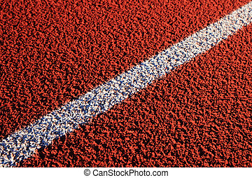 diagonal white track line