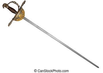diagonale, isolato, disposto, fondo., spada, bianco