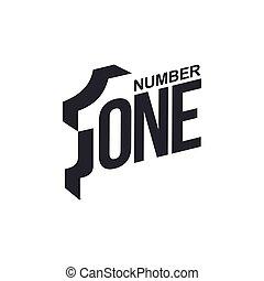 diagonale, numero, nero, sagoma, logotipo, bianco, uno