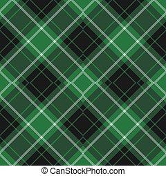 diagonale, seamless, verde, tartan, nero, bianco