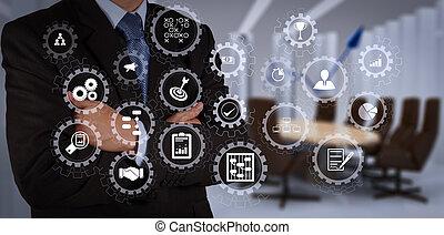diagram, üzletember, rajz, pite, kéz