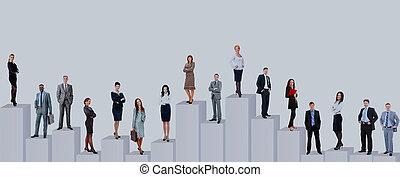 diagram., 商务人士, 结束, 隔离, 背景, 队, 白色