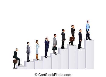 diagram., 商業界人士, 在上方, 被隔离, 背景, 隊, 白色