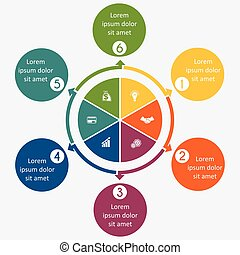 Diagram 6 cyclic processes, step by step, colorful circles...
