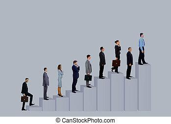 diagram., affärsfolk, över, isolerat, bakgrund, lag, vit
