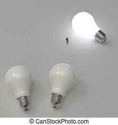 diagram, affärsman, lightbulb, vandrande, växande, 3, idé, framgång, begrepp