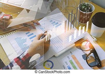 diagram., anyagi, ügy, üzletasszony, analízis, háttér., ábra