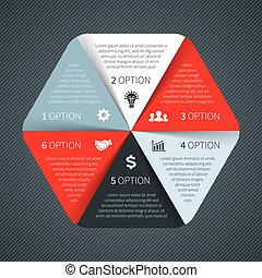 diagram, begreb, processes., firma, dele, infographic., graph, chart., baggrund., vektor, foranstaltninger, skabelon, 6, abstrakt, cirkel, præsentation, eller, valgmuligheder