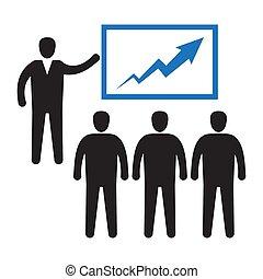 diagram., biuro, spoinowanie, pracownik, wykres, audiencja, hala
