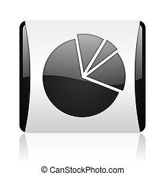 diagram black and white square web glossy icon