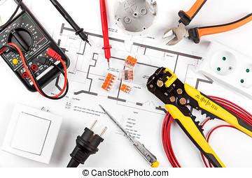 diagram., bovenzijde, uitrusting, elektrisch circuit, gereedschap, aanzicht