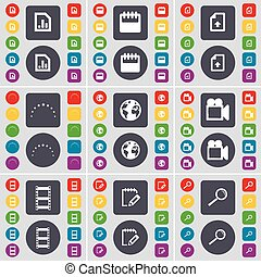 Diagram, Calendar, Upload file, Stars, Earth, Film camera, Negative films, Notebook, Magnifying glass icon symbol. A large set of flat, colored buttons for your design. Vector