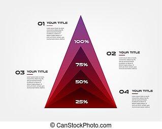 diagram, concentreren, piramide, communie, helling, infographics., enig, van, tabel, grafiek, processes., vector, zakelijk, mal, voor, presentation., groenteblik, zijn, gebruikt, voor, workflow, opmaak, diagram, spandoek, web ontwerp