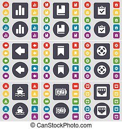 Diagram, Dictionary, Survey, Arrow left, Marker, Videotape, Ship, Charging, LAN socket icon symbol. A large set of flat, colored buttons for your design. Vector