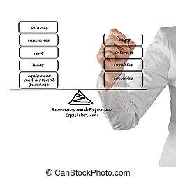 diagram, dochód, wydatki
