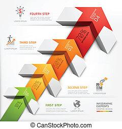 diagram., escadaria, cima, passo, seta, 3d
