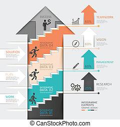 diagram., escalera, arriba, paso, flecha, 3d