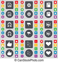 Diagram file, Lens, Notebook, Avatar, Flag, Graph, Like, Connection, Heart icon symbol. A large set of flat, colored buttons for your design.