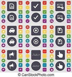 Diagram file, Tick, Picture, Car, Arrow down, File, Megaphone, Note, Hand icon symbol. A large set of flat, colored buttons for your design. Vector
