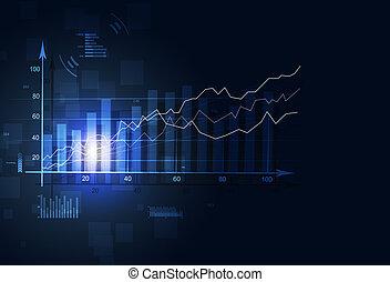diagram, financiën, markt, liggen