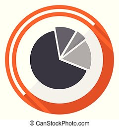 Diagram flat design vector web icon. Round orange internet button isolated on white background.