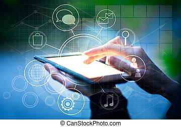 diagram, gebruik, vrouwlijk, zakelijk, tablet